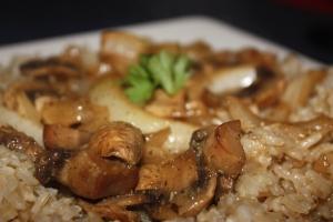 Mushroom bake & Rice